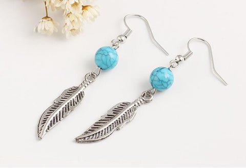 Howlite Feather Earrings
