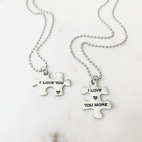 I Love You More Puzzle Necklace Set