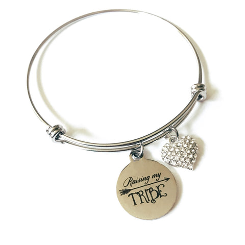 Raising My Tribe Charm Bangle Bracelet