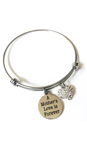 A Mother's Love is Forever Charm Bangle Bracelet