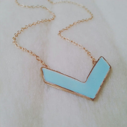 Teal Blue Chevron Necklace