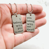 I Belong with you Sweetheart Couples Necklace Set