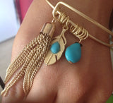 Feather & Teal Bangle Bracelet