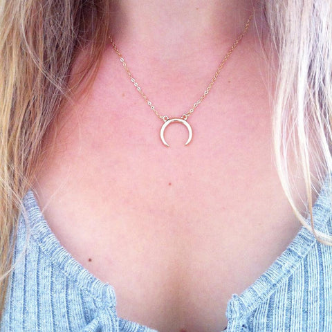 Silver or Gold Half Moon Crescent Necklace