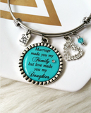 Step Daughter, Adoption, Teal Bangle Bracelet