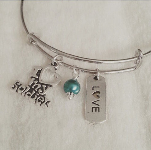 I Love My Soldier Bangle Bracelet
