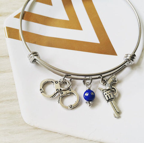 Custom Police Officer Bangle Bracelet