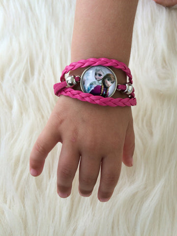 Pink Kid's Elsa and Ana Infinity Bracelet