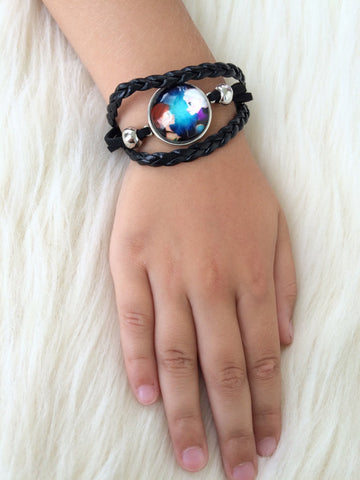 Black Kid's Elsa and Ana Infinity Bracelet - Gifts for Her - Braided Leather Rope