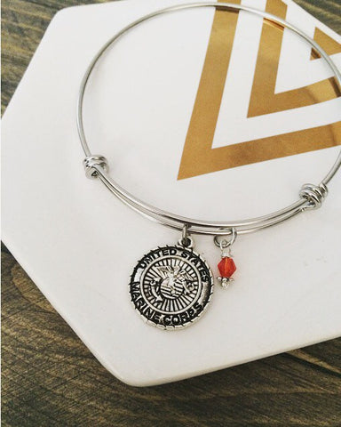 USMC EGA Logo Charm Bangle Bracelet