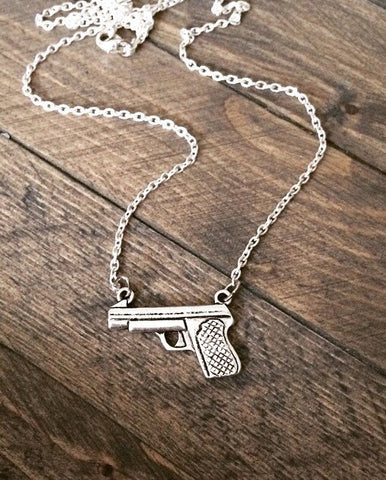 Sterling Silver Pistol Necklace