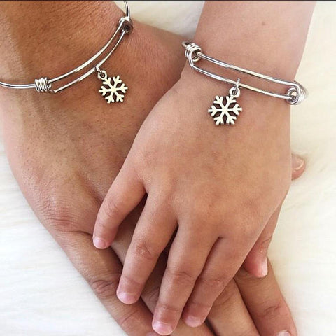Mommy and Me Snowflake Bangles
