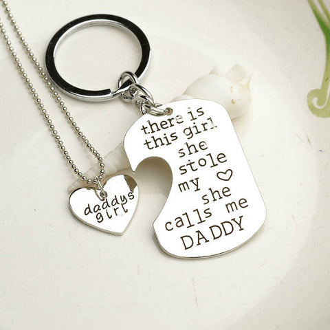 Father Daughter Gift SET - MINI Dogtag Keychain Necklace