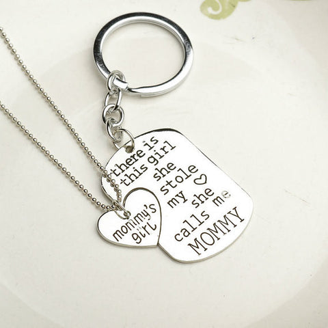 Mommy & Daughter Dogtag Keychain Heart Necklace Gift