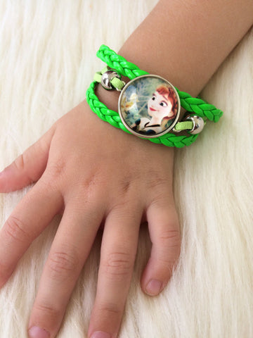 Green Kid's Ana Infinity Bracelet - Gifts for Her - Braided Leather Rope
