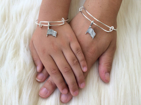 American Flag Mommy and Me Bangles