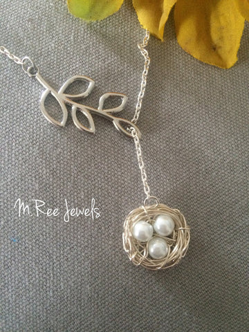 "Mom's ""Nest"" Sterling Silver Pearl Necklace"