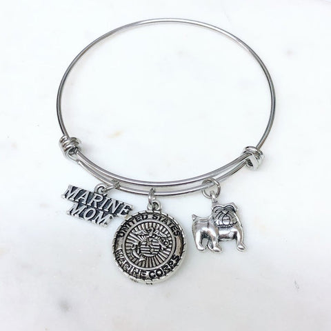 Marine Mom EGA Logo Charm Bangle Bracelet