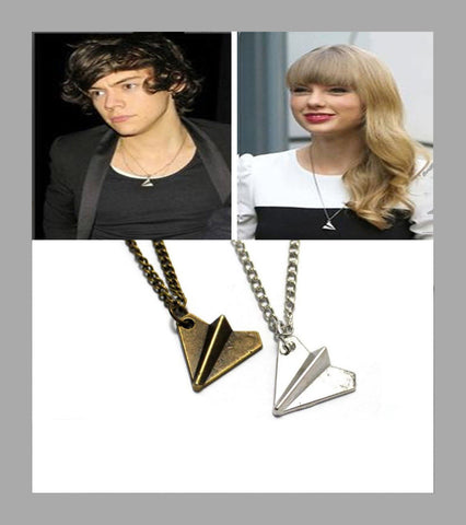 Paper Airplane Necklace in Silver or Bronze