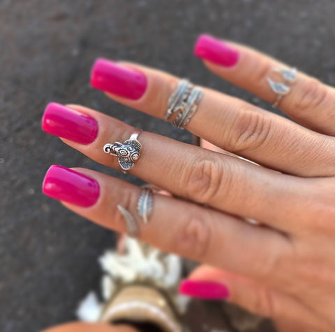 Mini Elephant Adjustable Midi Ring - .925 Sterling Silver
