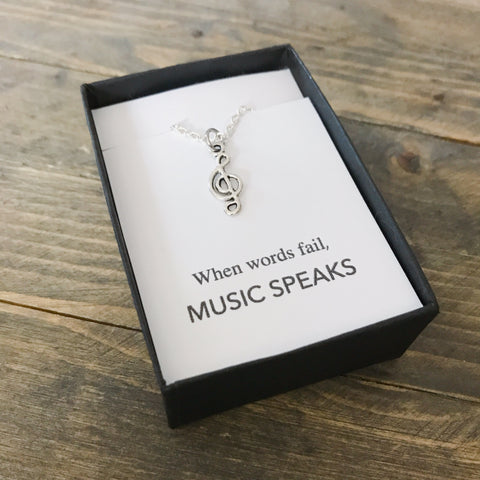 When Words Fail Music Speaks Treble Clef Necklace