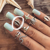 Ocean Whelk Adjustable Midi Ring - .925 Sterling Silver