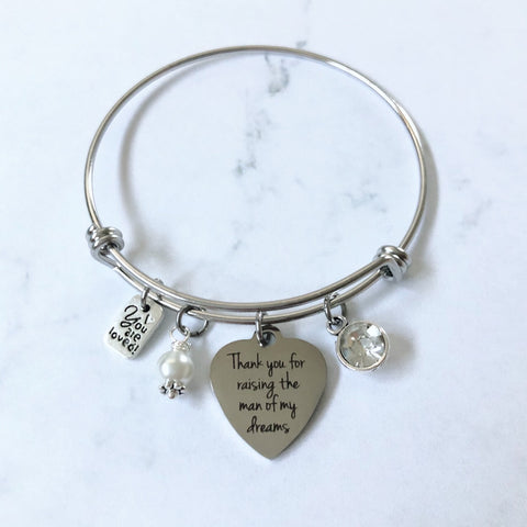 Man of Dreams Mother in Law Heart Charm Bangle Bracelet