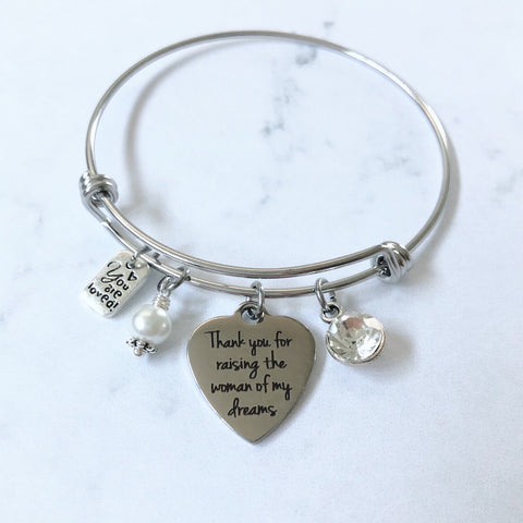 Woman of Dreams Mother in Law Heart Charm Bangle Bracelet