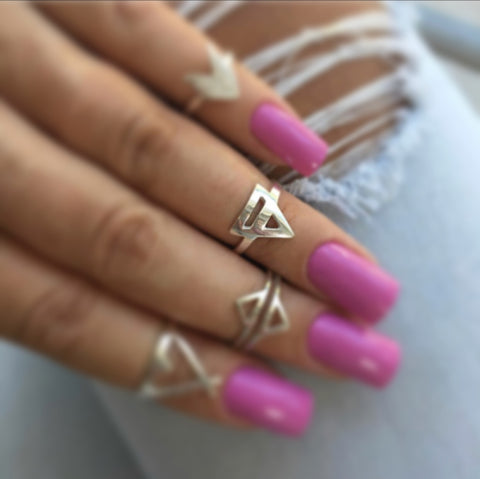 Pyramid Adjustable Midi Ring - .925 Sterling Silver