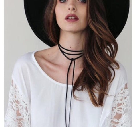Black Velvet Long Tie Choker