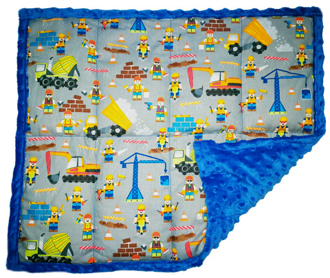 "Weighted Lap Pad Weighted Lap Blanket - Calming Portable Sensory Support for Autism Anxiety Stress ADHD & Fidgets - Choose from Multiple Sizes & Prints (3 lbs & W 21"" x H 18"" - The Builders)"