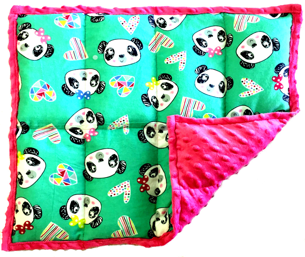 Weighted Lap Pads For Kids | Portable Sensory Lap Blanket | 3 lbs - Pandas On Pink