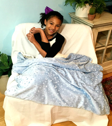 "Weighted Sensory Blanket For Kids - 48"" x 36"" - Choose 4, 6 or 8 lbs - Above the Clouds"