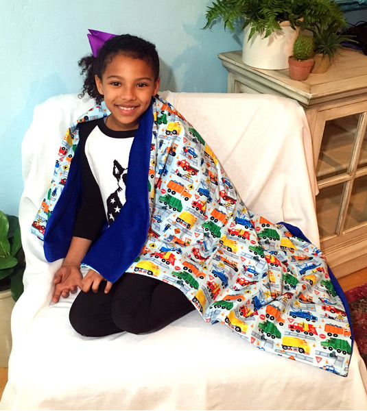 Weighted Throw Blanket For Kids | Choose 4 6 or 8 lbs | Keep on Truckin by ReachTherapy Solutions