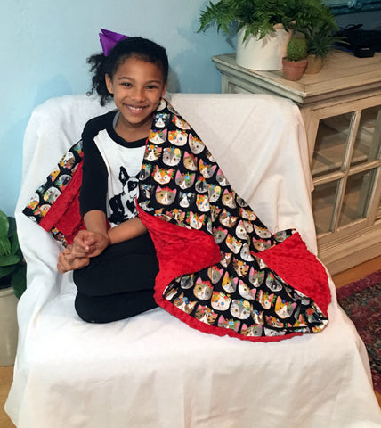 "Weighted Sensory Blanket For Kids - 48"" x 36"" - Choose 4, 6 or 8 lbs - Meow Mix"