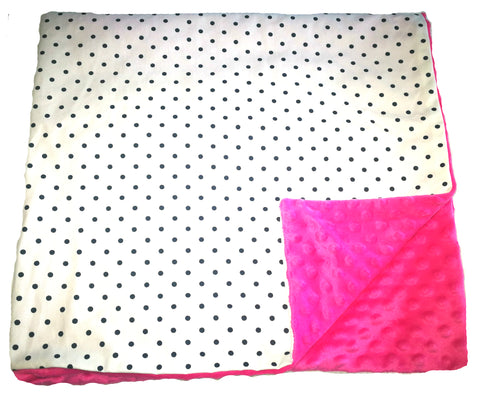 Weighted Throw Blanket For Kids | Choose 4 6 or 8 lbs | Polka Dots On Pink