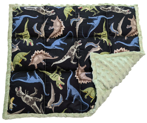 Weighted Lap Pad | Sensory Lap Blanket | 5 lbs - Green Dinosaurs