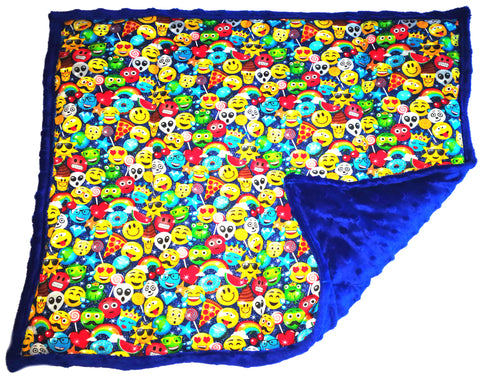 "Weighted Lap Pad Weighted Lap Blanket - Calming Portable Sensory Support for Autism Anxiety Stress ADHD & Fidgets - (7 lbs & W 24"" x H 18"" - Emojis)"