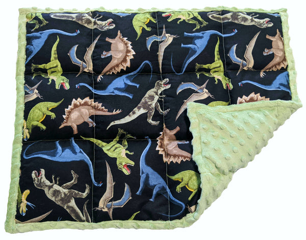 Weighted Lap Pad For Adults & Kids | 7 lbs Lap Blanket | Green Dinosaurs