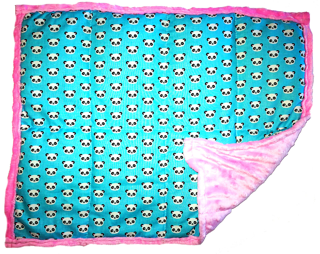 ReachTherapy Solutions Weighted Lap Pad | Portable Sensory Lap Blanket | 7 lbs - Pandas On Pink