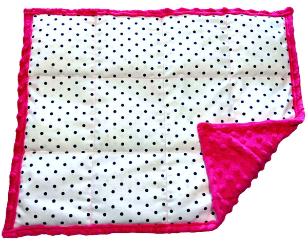 ReachTherapy Solutions Weighted Lap Pad | Portable Sensory Lap Blanket | 7 lbs - Polka Dots On Pink
