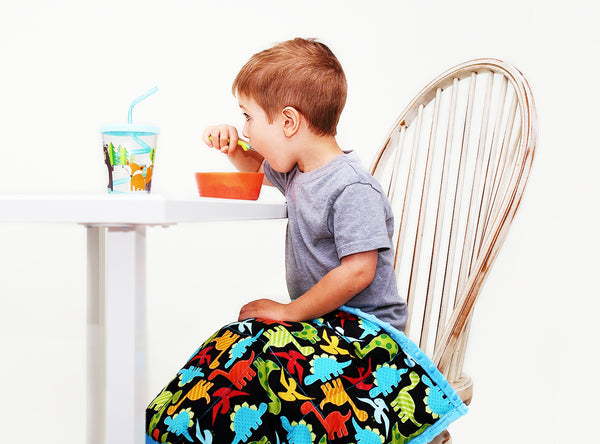 Weighted Lap Pads For Sensory Kids - Portable For Meals | Neon Dinos