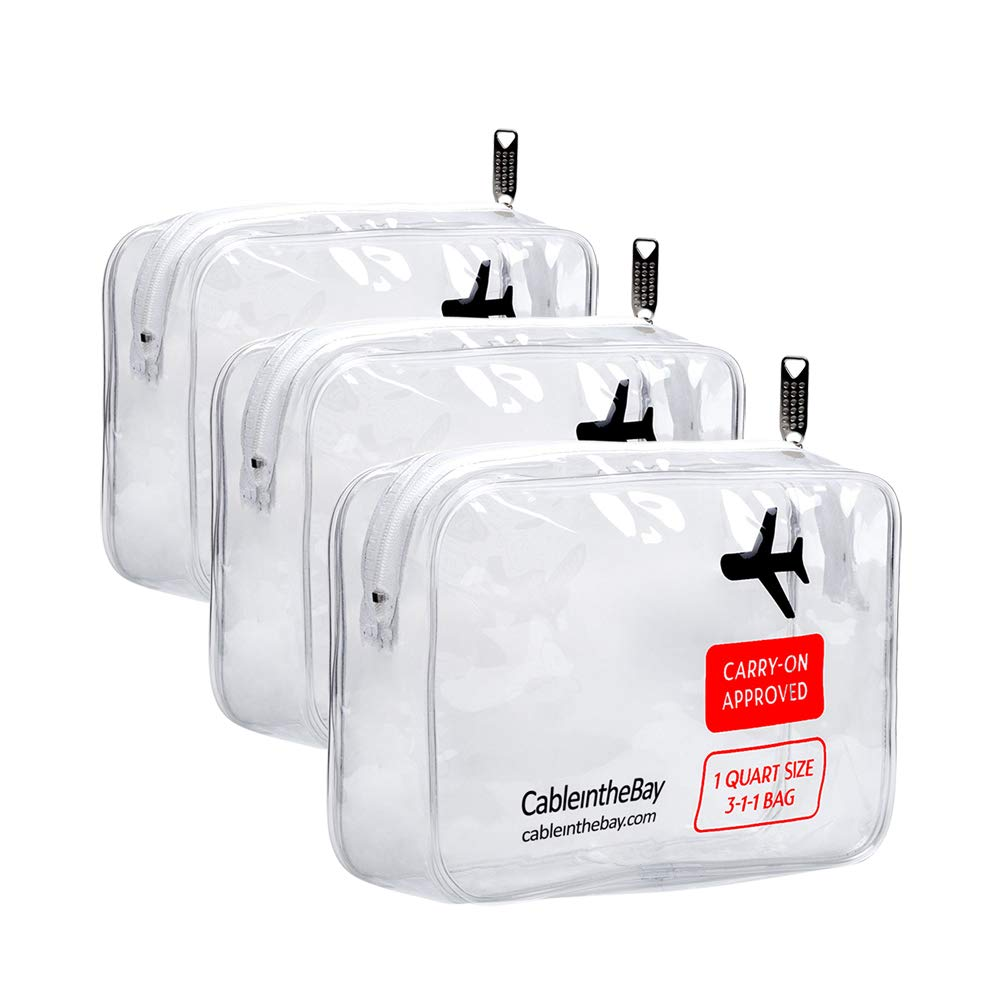TSA Approved Clear Travel Toiletry Bag (3PACK)