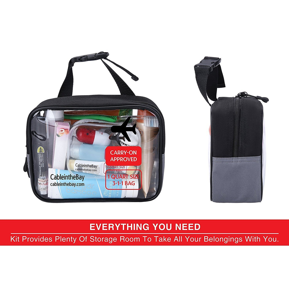 TSA Approved Clear Travel HangingToiletry Bag+ Carrying Handle|Quart Size with Zipper|Airport Airline Compliant Bag|Carry-On for Liquids/ Bottles|Men's/Women's 3-1-1 Kit+Travel EBOOK