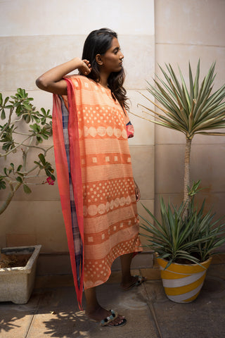 Orange Block Printed Kaftan