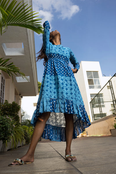 Blue Block Printed Dress