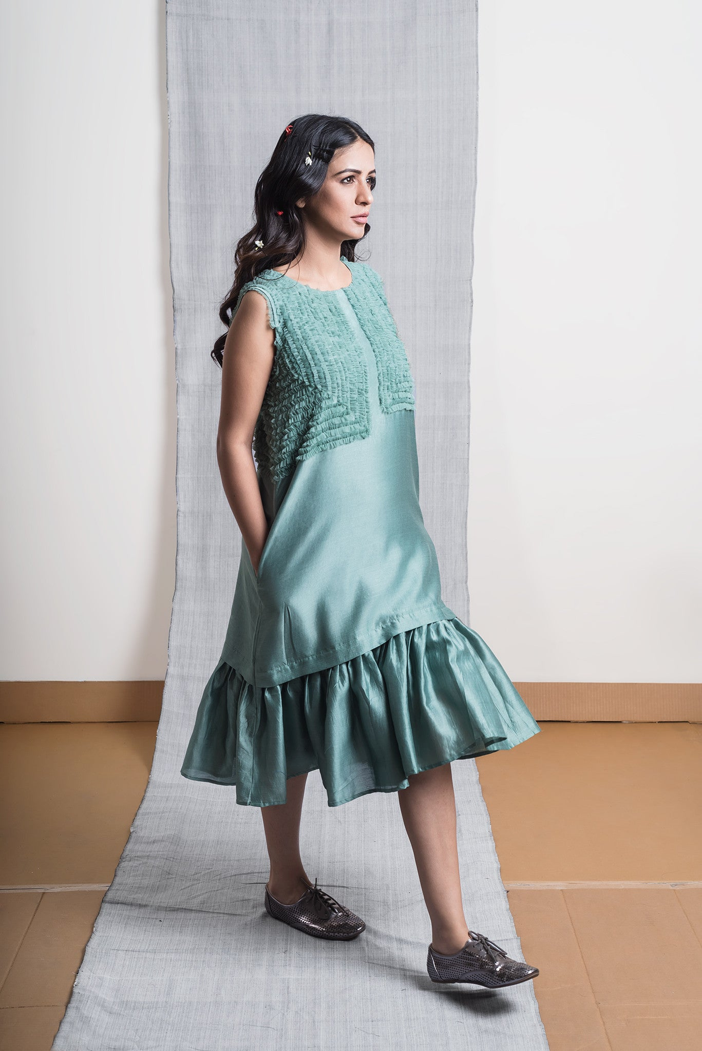 Green Chanderi Frill Dress