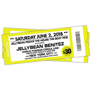 Saturday June 2nd ~ Jellybean Rocks the House ~ The Boat Ride in #NYC ~ Early Bird tickets Now on sale