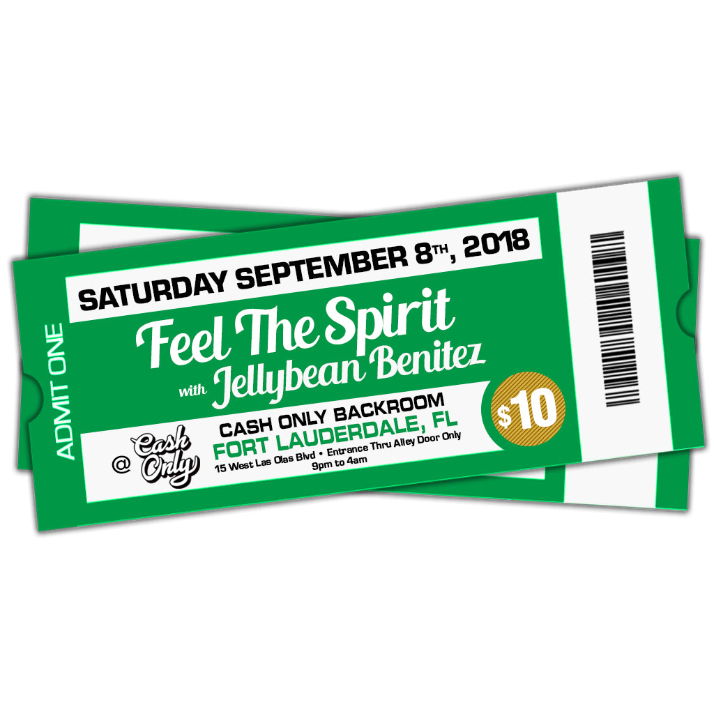9/8 Feel The Spirit with Jellybean Benitez at Cash Only ~ the Backroom - Fort Lauderdale ~ Early Bird Ticket $10