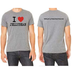 I Heart Jellybean Unisex Grey Crew Neck T Shirt